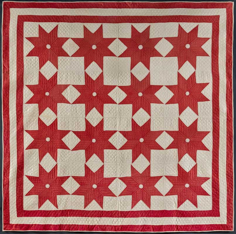 Infinite variety three centuries of red and white quilts for Red door design quilts